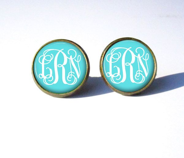 Tiffany Blue Monogram Earring Stud By Pishposhpendants