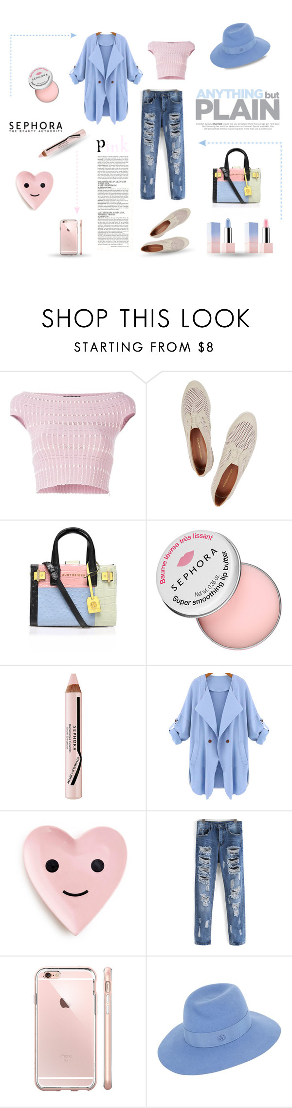 """""""Pink and Blue"""" by justjules2332 ❤ liked on Polyvore featuring Alexander McQueen, Rebecca Minkoff, Kurt Geiger, McGinn, Sephora Collection, Maison Michel, Beauty, rebeccaminkoff, sephora and pinkandblue"""