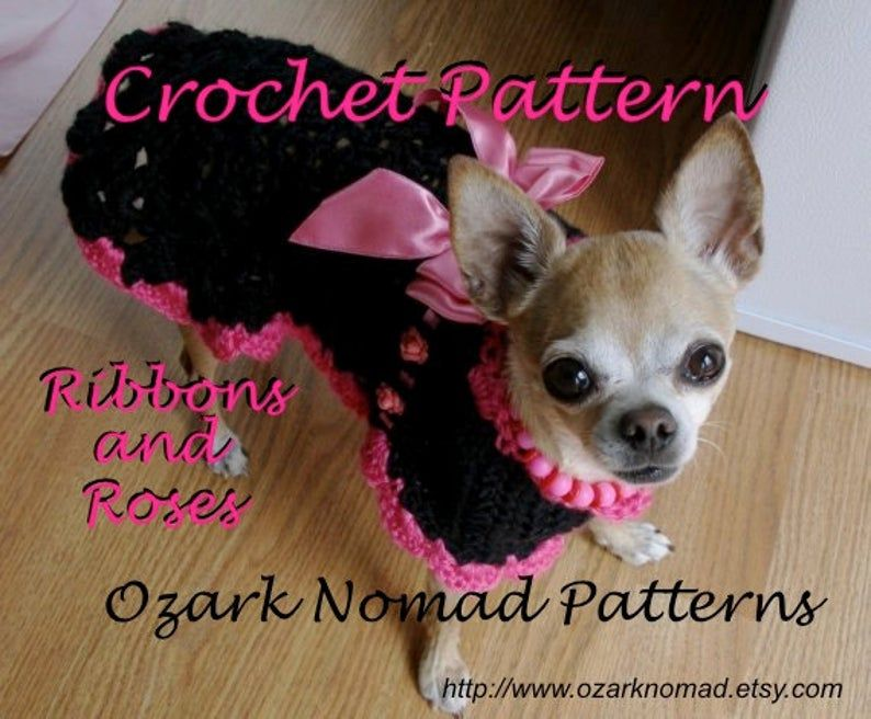 Ribbons and Roses – Digital Download Crochet Pattern for Little Dogs – Chihuahua – MinPin – Yorkie – Beagle – ChiWeenie