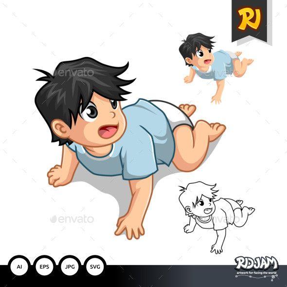 Crawling Baby, Cartoon, Vector Graphics