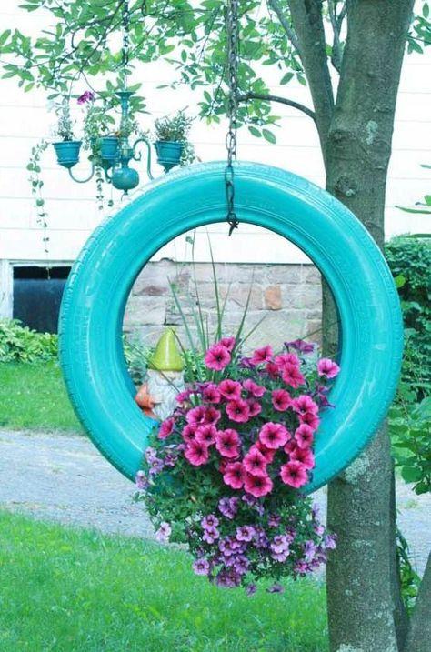 26 llantas recicladas CESAR JARDINES Pinterest Gardens, Yard - jardines con llantas