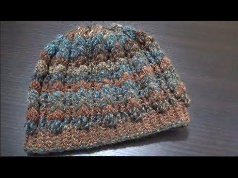 Gorro con puntada popcorn (palomita)/Crochet - YouTube | Crochet ...