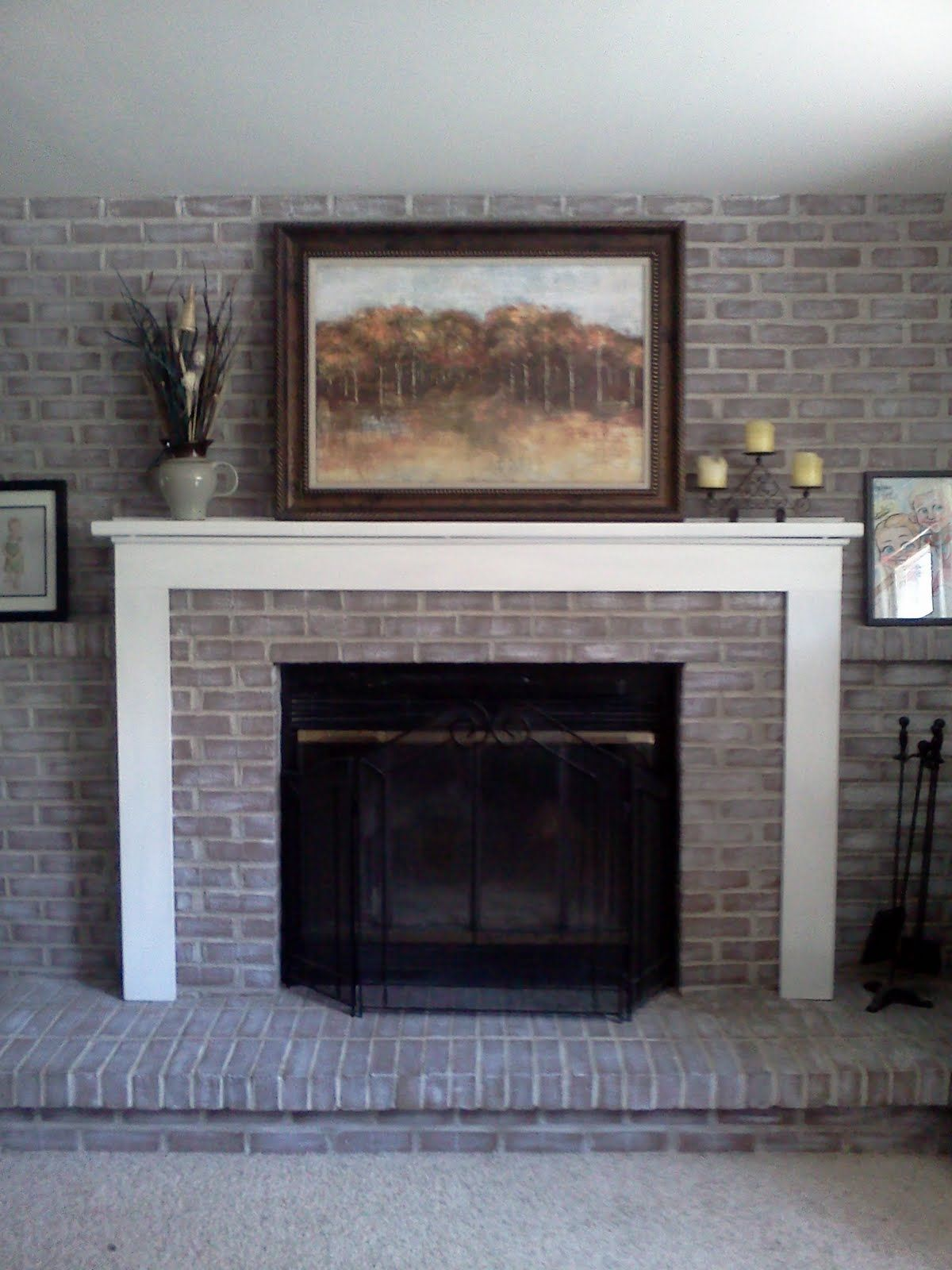 white before the fireplace brick painting makeover remodel