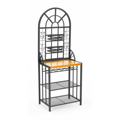 Dome Steel 26 In W Baker S Rack With Wine Storage In Black Be4650