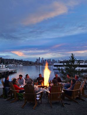 At Westward restaurant on Northlake Way in Seattle, a warming firepit welcomes diners and drinkers.
