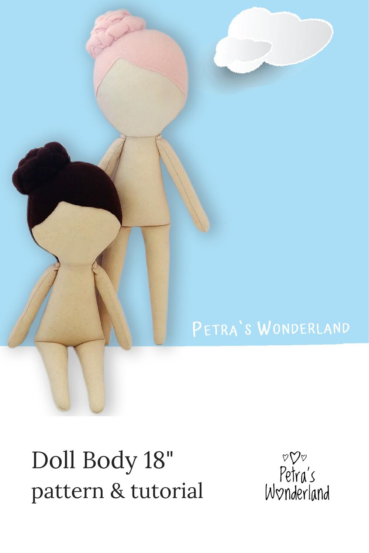 Cloth Doll Pattern 18, PDF Sewing Tutorial, Doll Sewing Pattern, Rag Doll Body, Easy Pattern DIY  #instructionstodollpatterns