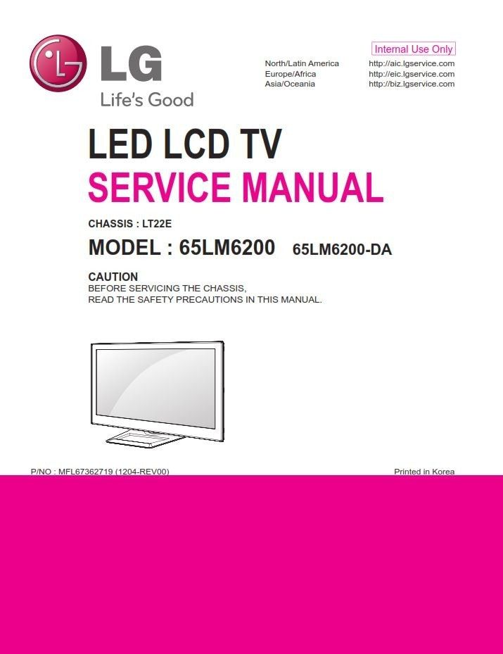 Lg 65lm6200 Ub 3d Led Tv Service Manual   Schematics In