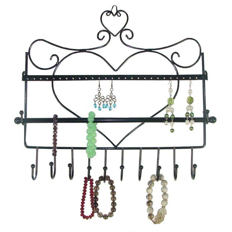 Rbenxia Wall Mount Heart Shape Jewelry Organizer Hanging Earring Holder Neck Wall Mount Jewelry Organizer Wall Mounted Jewelry Holder Hanging Jewelry Organizer
