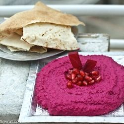 Beet Dip: A refreshing, lemony dip of beets roasted then mashed with a touch of garlic and tahini #Lebanese #Food