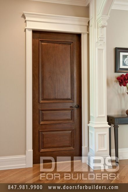 Custom Wood Interior Doors Single Door Triple Panel With Raied Moldings Prefinished Pre Hung