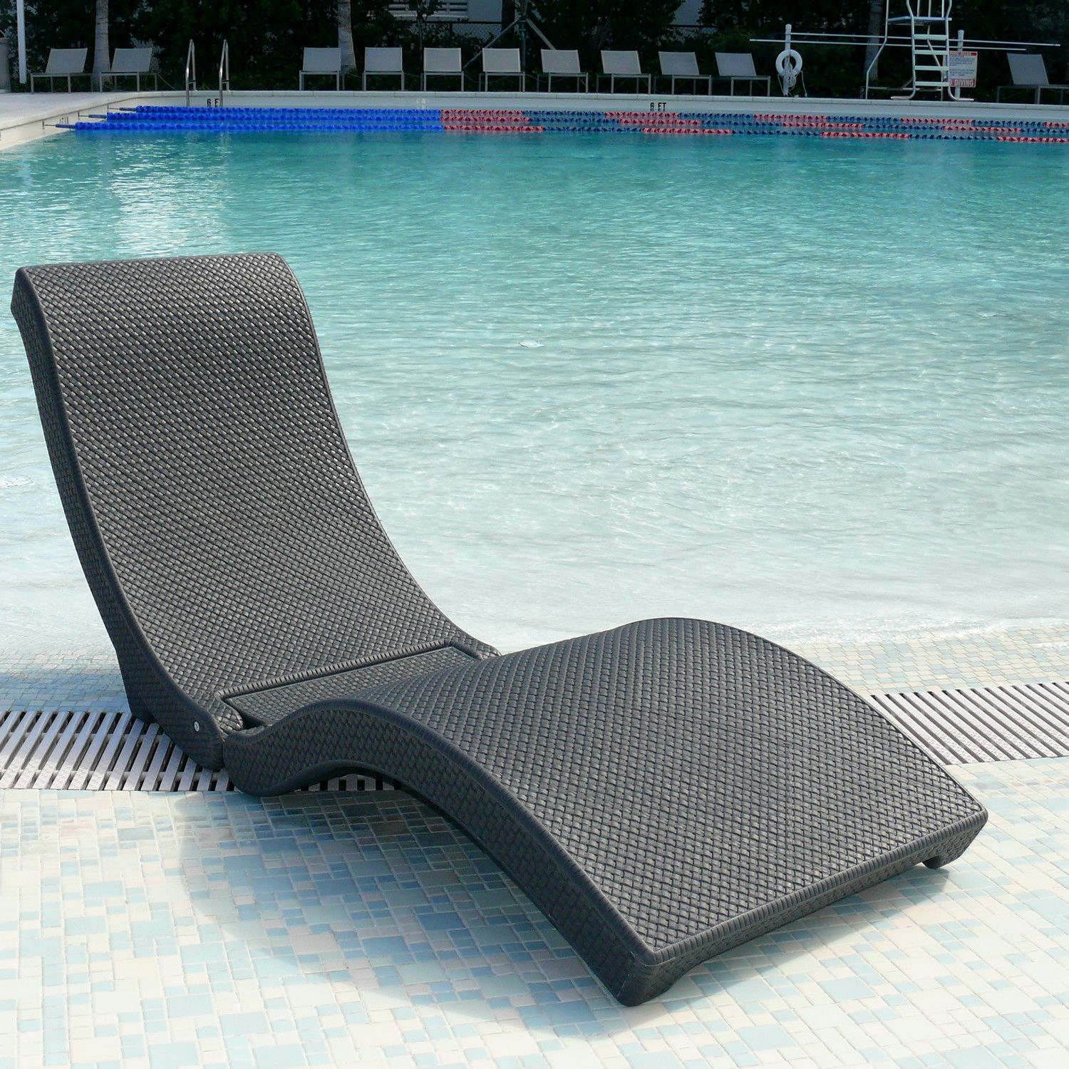 Water In Pool Chaise Lounge Chairs