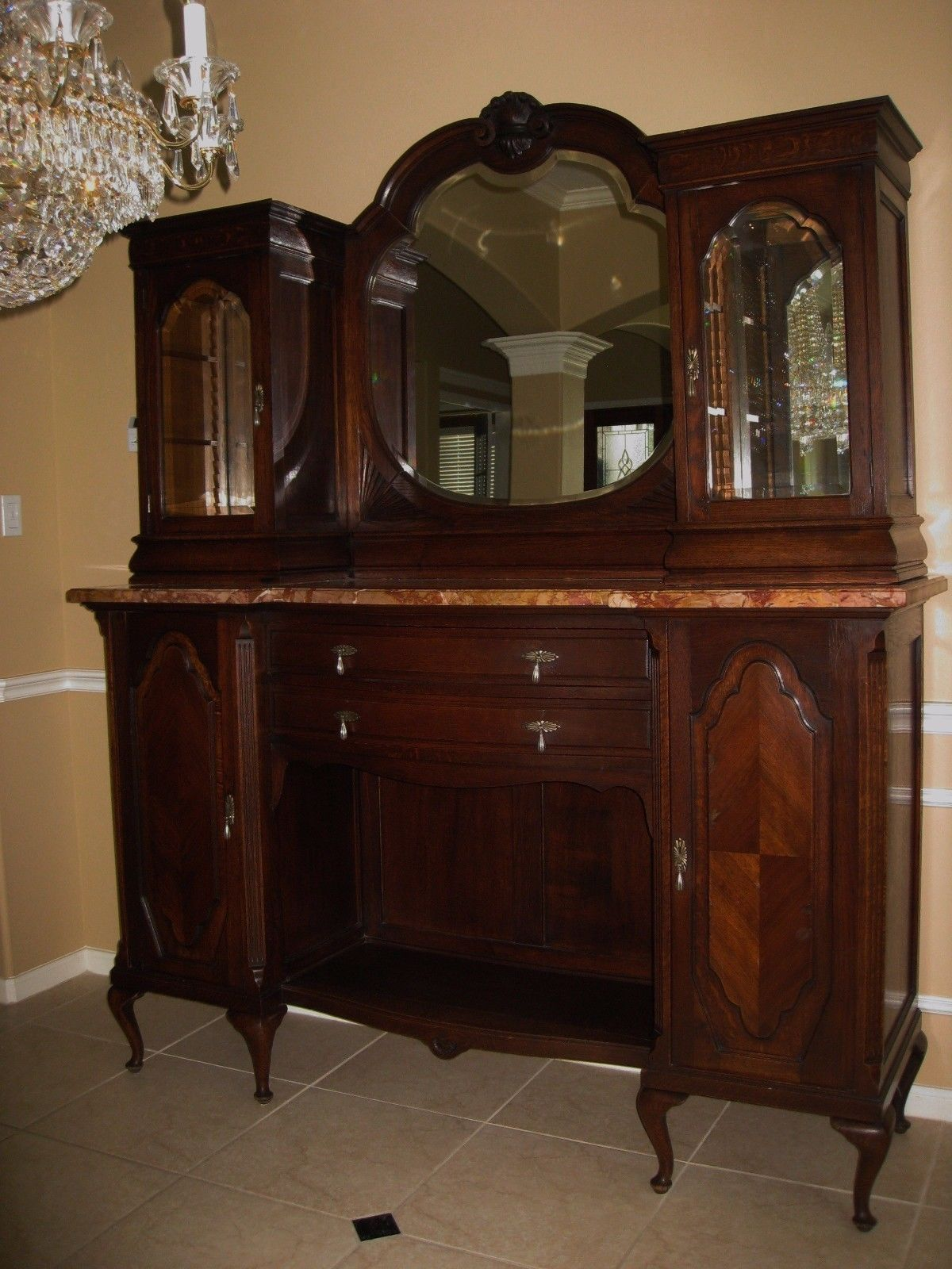 Antique Belgium Oak & Marble Sideboard Buffet Server