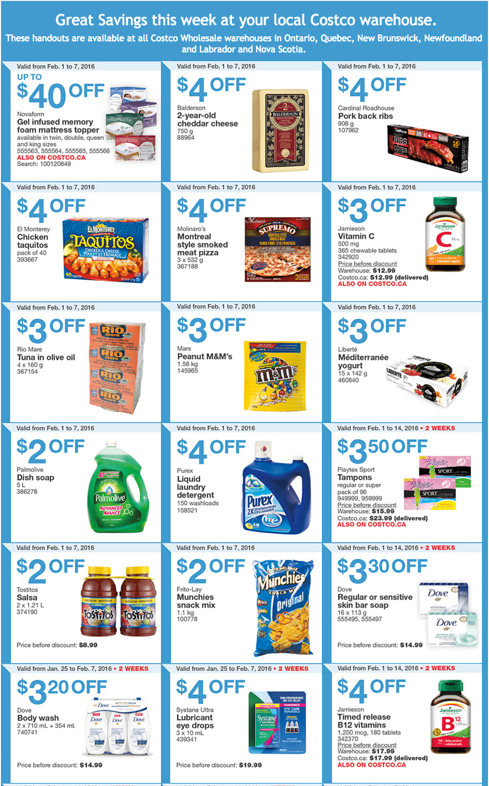 Costco Eastern Canada Coupons Ontario Quebec Atlantic Ends February 7 2016 Groceryalerts - Quebec City Coupons
