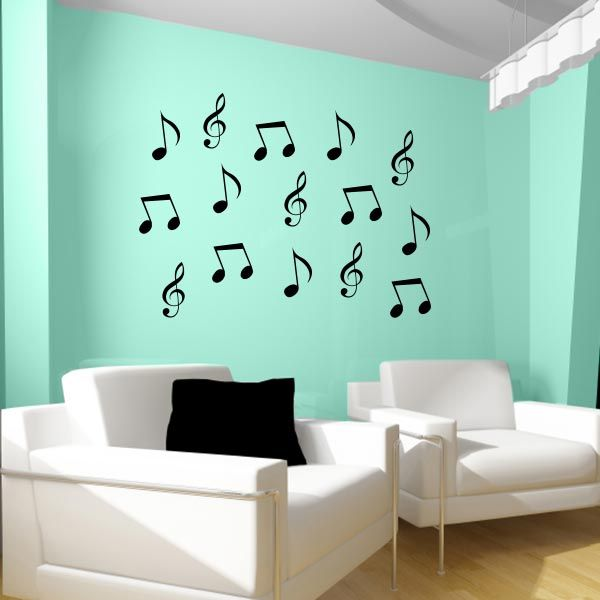 Attractive Bedrooms · Music Notes Wall Decals