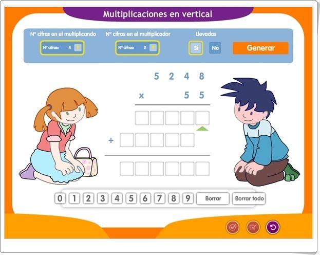 Generador De Multiplicaciones Por 1 Y 2 Cifras Aplicación Interactiva De Matemáticas De Primaria Multiplicacion Matematicas Primaria Matematicas