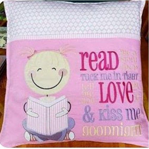Reading boy and girl machine embroidery applique