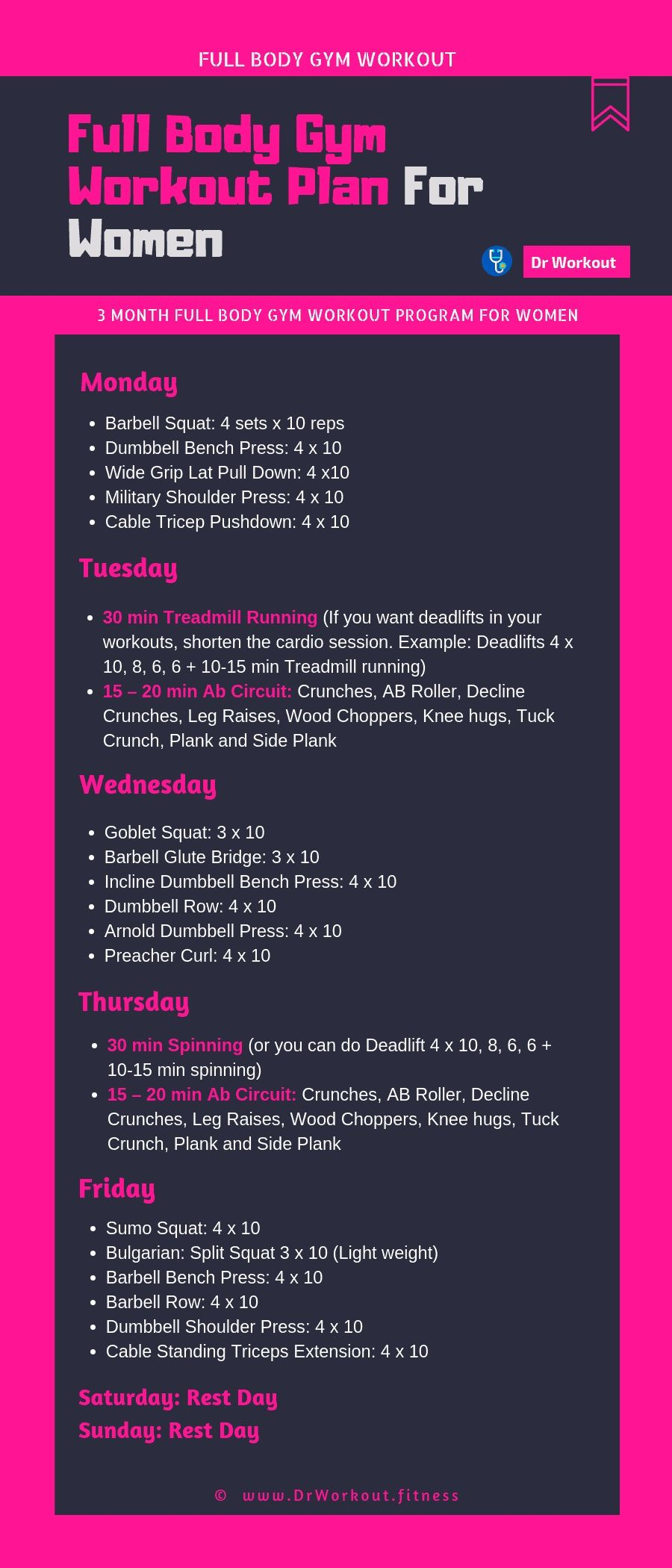 Full Body Gym Workout Plan For Women #workout #workoutplan #fitness #women #gym Informations About F...