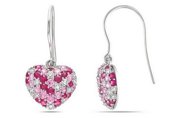 2 5/8 Carat Pink Dark Pink and White Sapphire Sterling Silver Heart Earrings