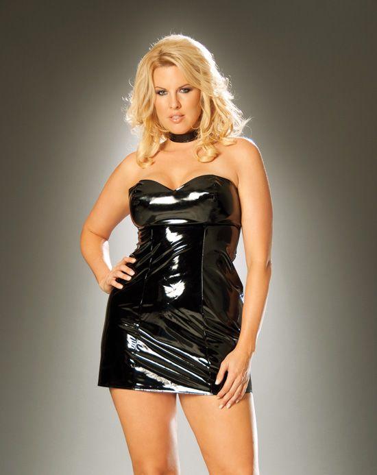 Plus Size Vinyl Mini Dress Fashion Dresses