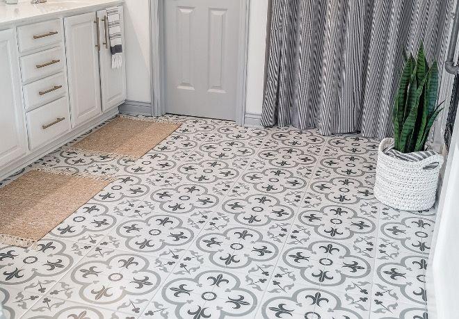 Bathroom Renovation With Cement Tile Renovated Bathroom With Cement Tile Floor And Decor Florentina Gray Tile Bat Flooring Small Bathroom Diy Cement Tile Floor
