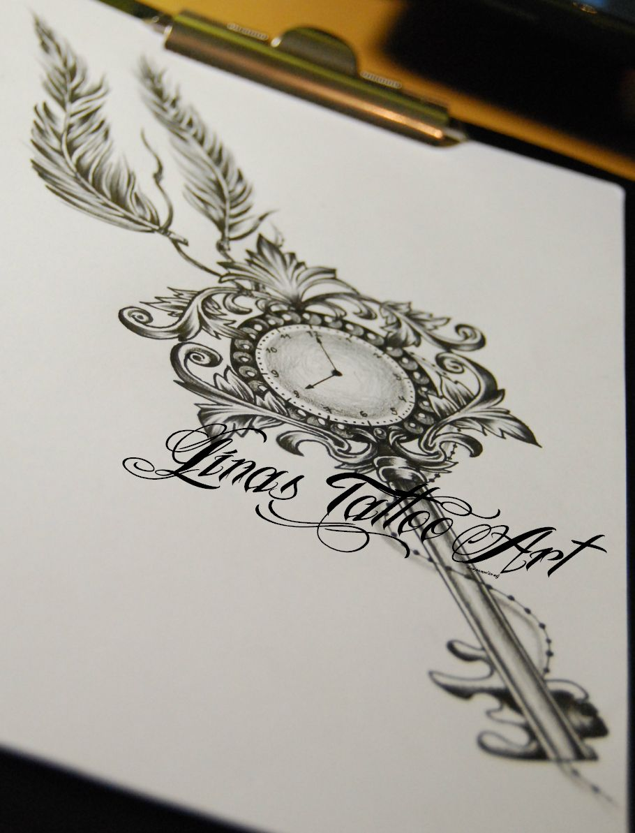 Pics photos heart lock flowers n key tattoo design - Interest Tattoo Ideas And Design Clock Key Tattoo Design With Feathers Photo If You Want To Make A Tattoo Look How It Looks From Other People