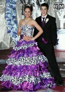 29f283240e Mary s Bridal Purple Black   White Animal Print Prom Dress Sz 2 on Wanelo