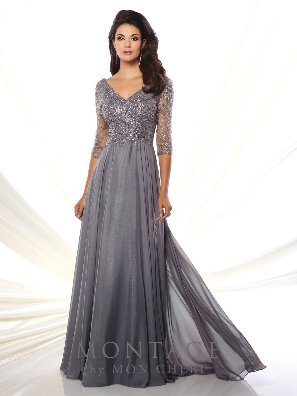 Diamond chiffon aline gown montage by mon cheri formal