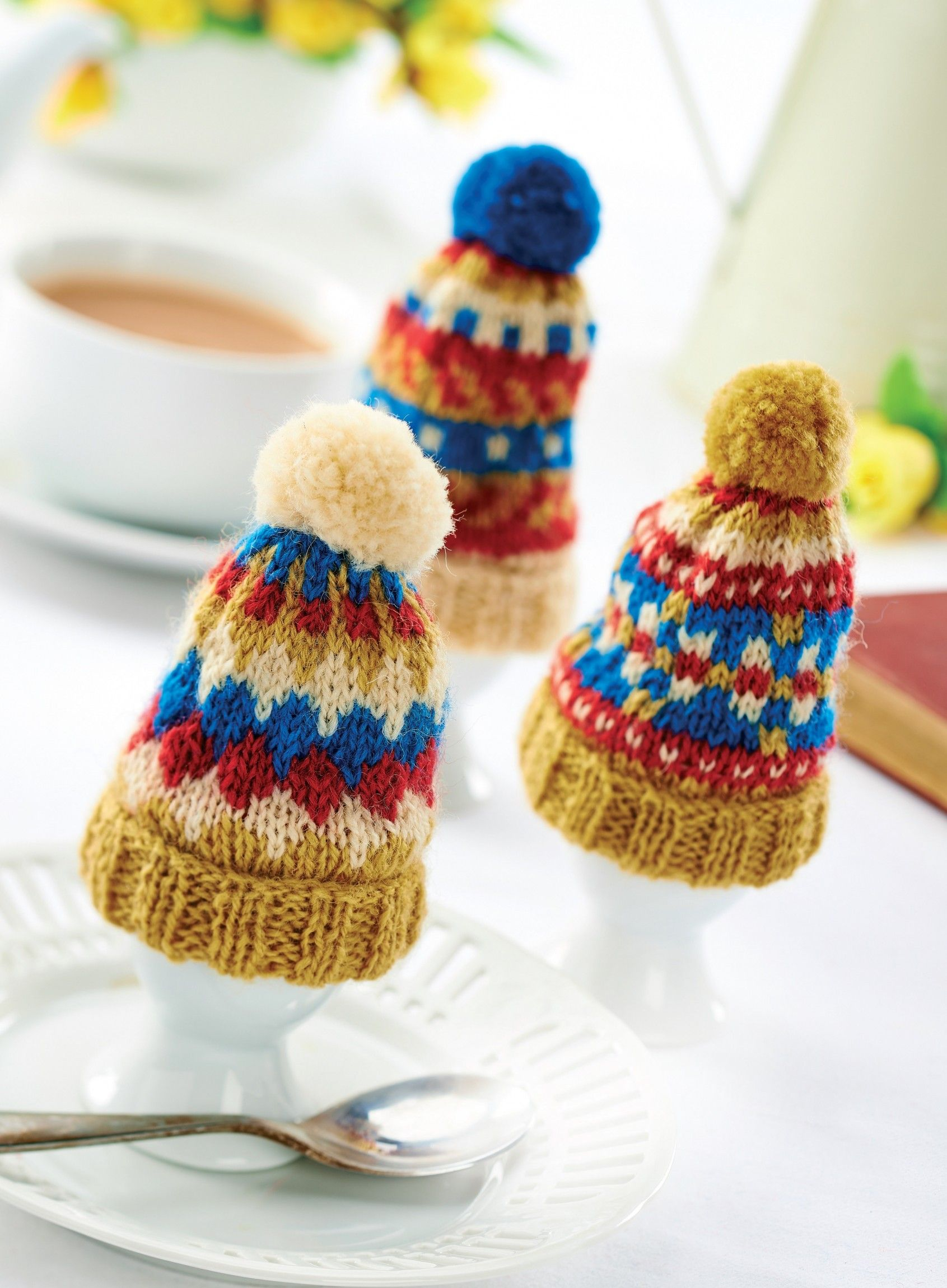 Traditional Tea and Egg Cosy Set With Pom-Poms! | Tea cosy ...
