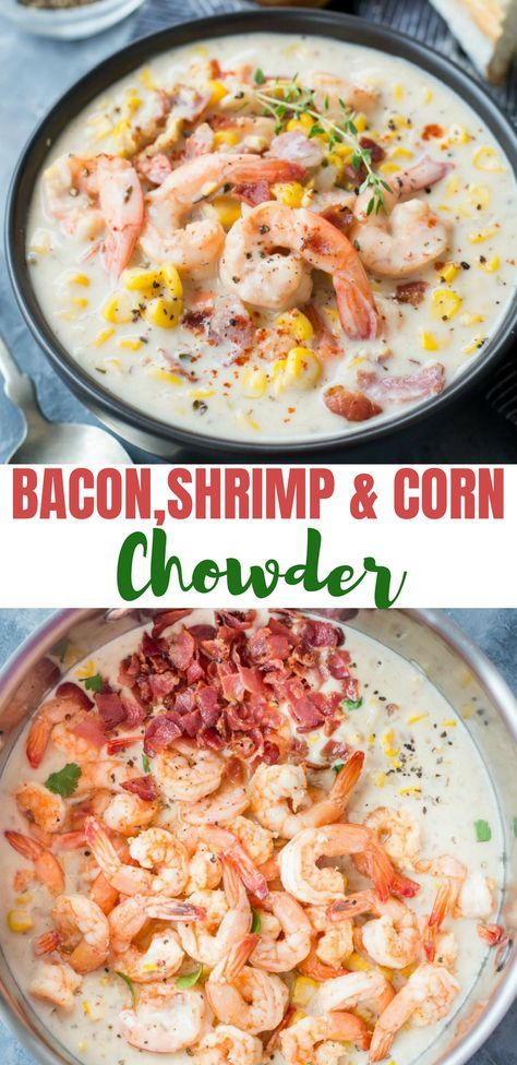 SHRIMP CORN CHOWDER WITH BACON - The flavours of kitchen