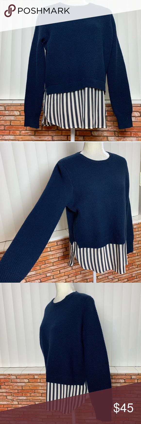 "j. crew sweater Beautiful blue sweater with striped shirt tail attached. Crew neck. Zippered back. Great shape.  Pit to Pit: 21"" Shoulder to Hem: 16"" Pit cuff: 19""  Non smoking, no pet home. J. Crew Sweaters Crew & Scoop Necks"