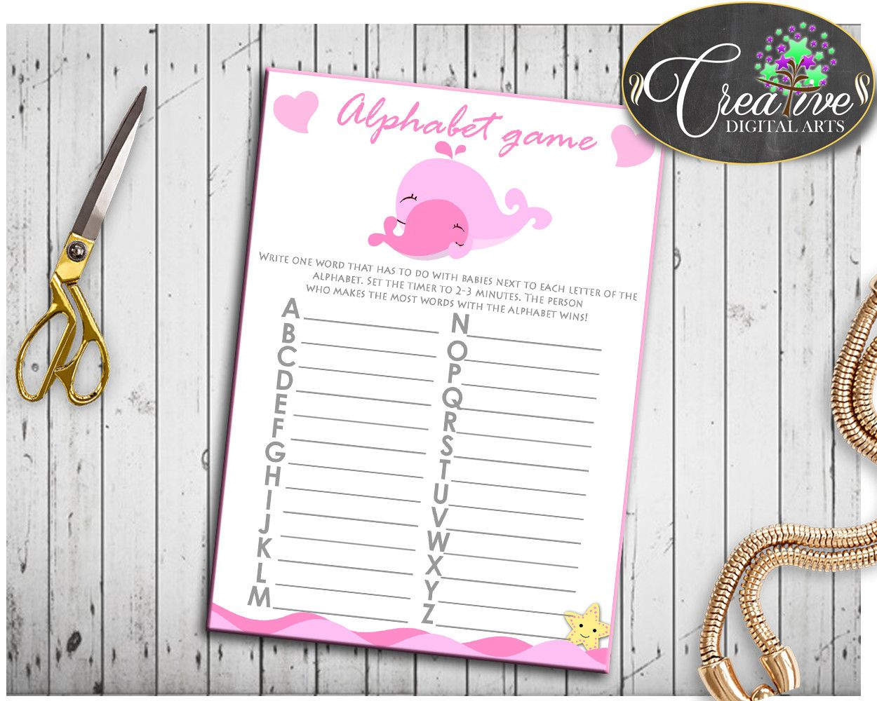 Pink White Alphabet Baby Shower Girl Game Pink Whale A Z