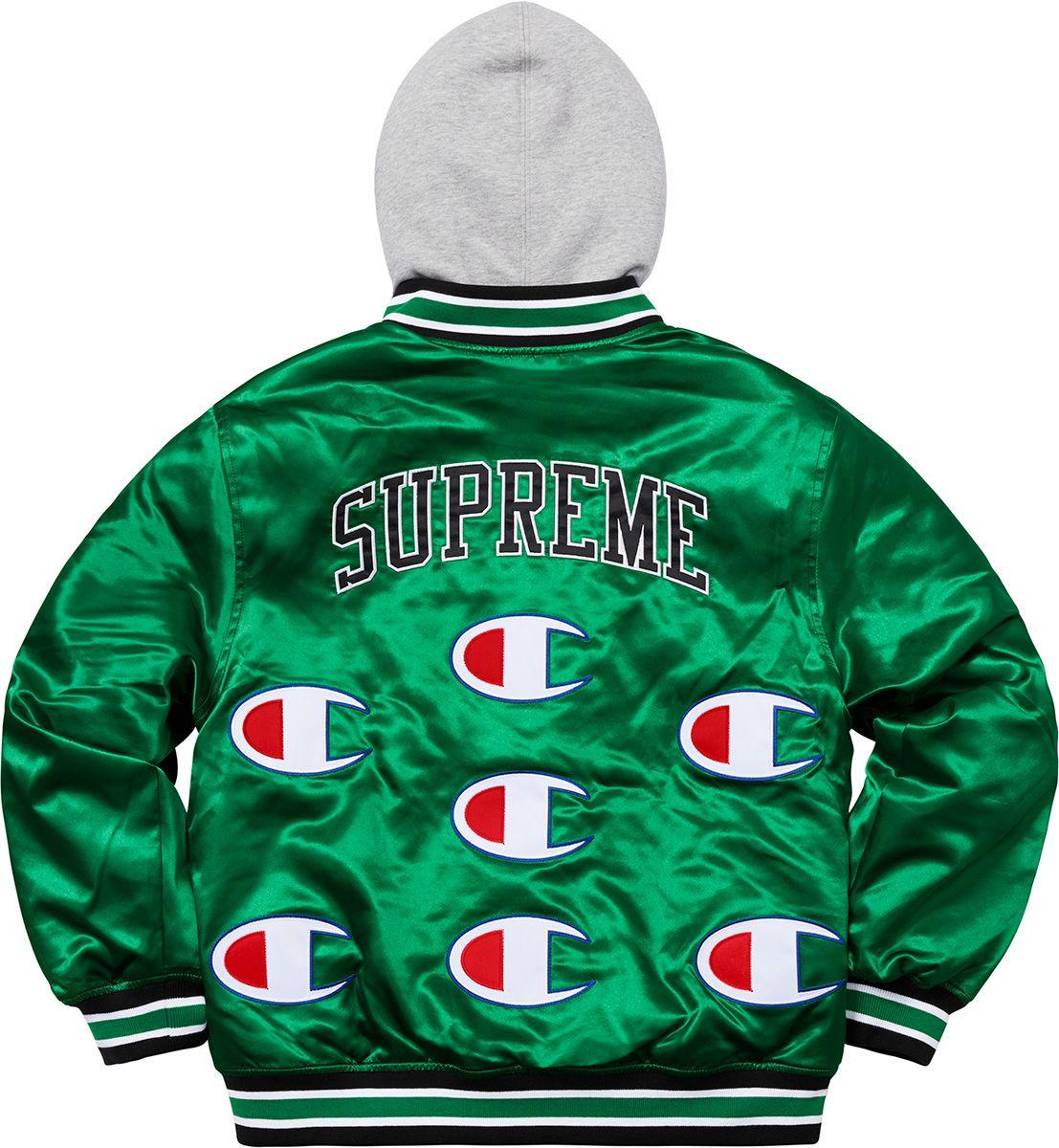 Supreme Champion Hooded Satin Varsity Jacket Varsity Jacket Jackets Varsity [ 1200 x 1107 Pixel ]