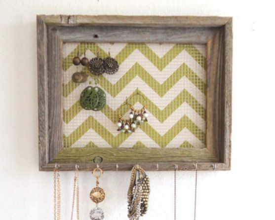 Barnwood Jewelry Organizer Pick Your Chevron Color by TheHopeStack, $36.95