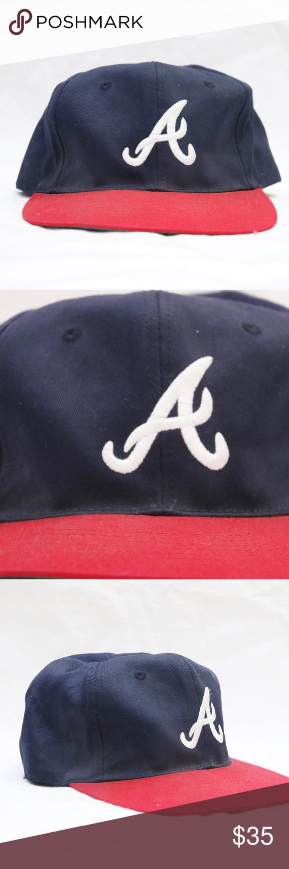 90 S Vintage Atlanta Braves Snapback W Green Brim Atlanta Braves Braves Vintage Twins