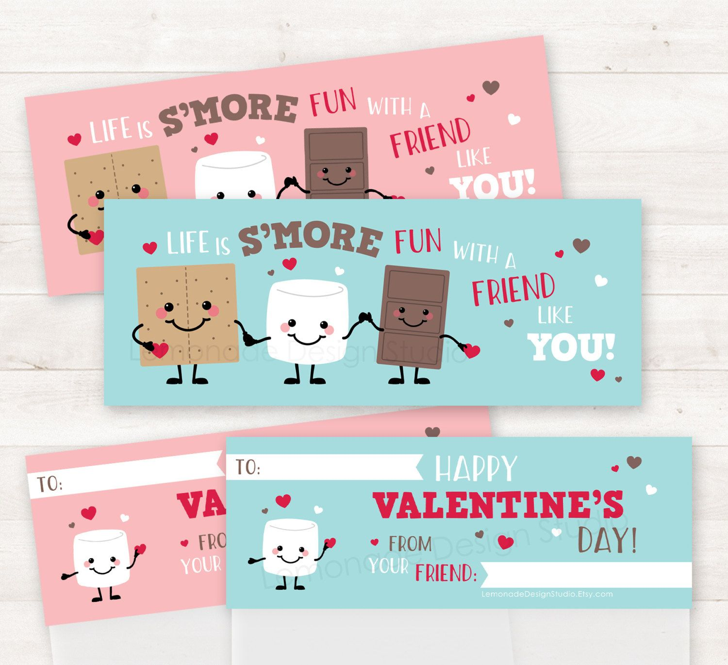 Valentine Treat Bag Toppers Printable Smores Valentine Cards For Kids Valentines Smores