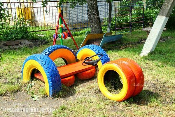 Pin de cora chavez em reciclar cin llantas Ideias de playground, Parque de pneu e Brinquedos  -> Jardins Decorados Com Pneus