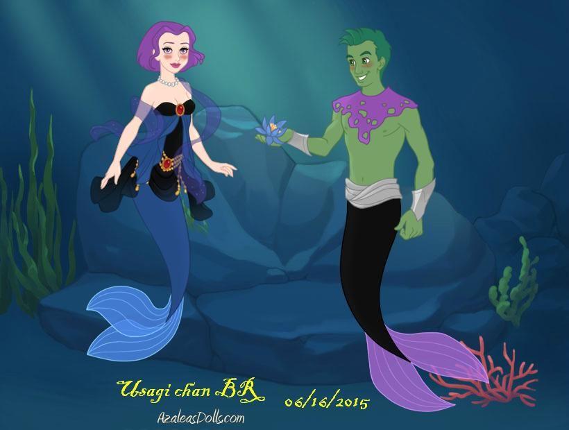 Mermaid-Scene- Raven And Beast Boy By Usagichanbr  Teen -4112