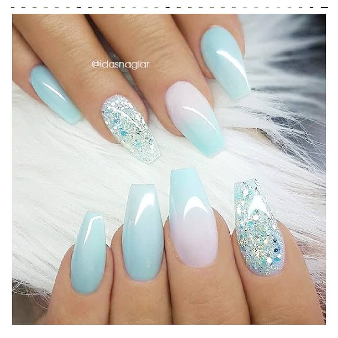 42 Trendy Nails Ombre Blue And White Blue Ombre Nails Blue And White Nails Baby Blue Nails