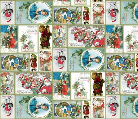 Vintage Christmas Cards ~ multidirectional  ~ by PeacoquetteDesigns on Spoonflower ~ bespoke fabric, wallpaper, wall decals & gift wrap ~ Join PD  ~ https://www.Peacoquette.com  #Spoonflower #Peacoquette