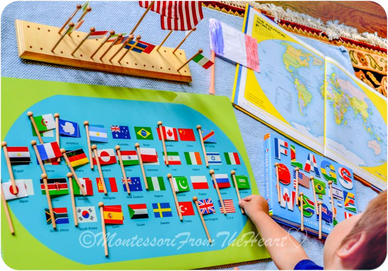 flag day how we celebrated in 2016 pinterest early flag day montessori early childhood educational materials geography flag stand world map with flags gumiabroncs Choice Image