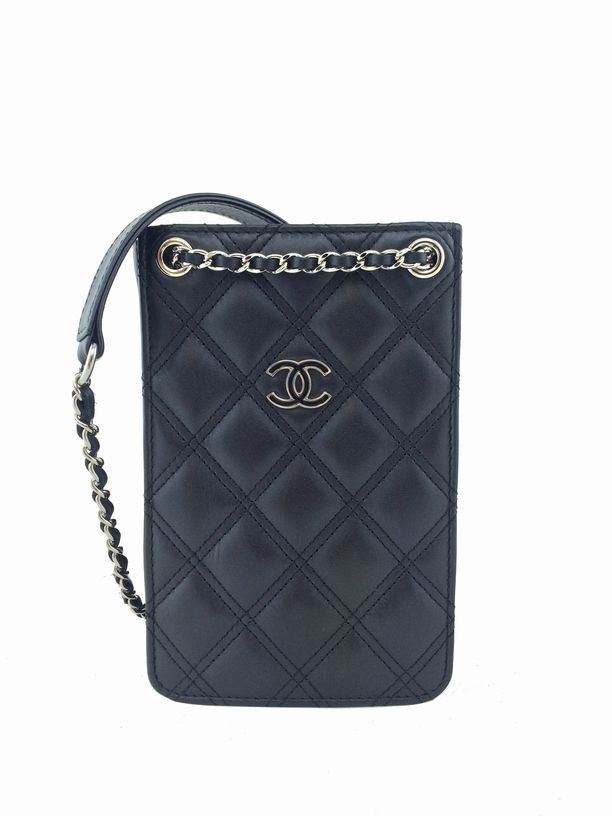 e72f132405 Chanel Quilted Phone Holder Crossbody Bag Black | Consigned Designs -  Luxury Consignment!