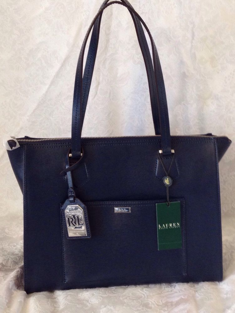 RALPH LAUREN Lowell Tote Satchel Bag Navy Leather $268 MWT ...