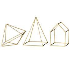 Bloomingville Deko-Element Diamond/Pyramid/House Messing 3er-Set 30€
