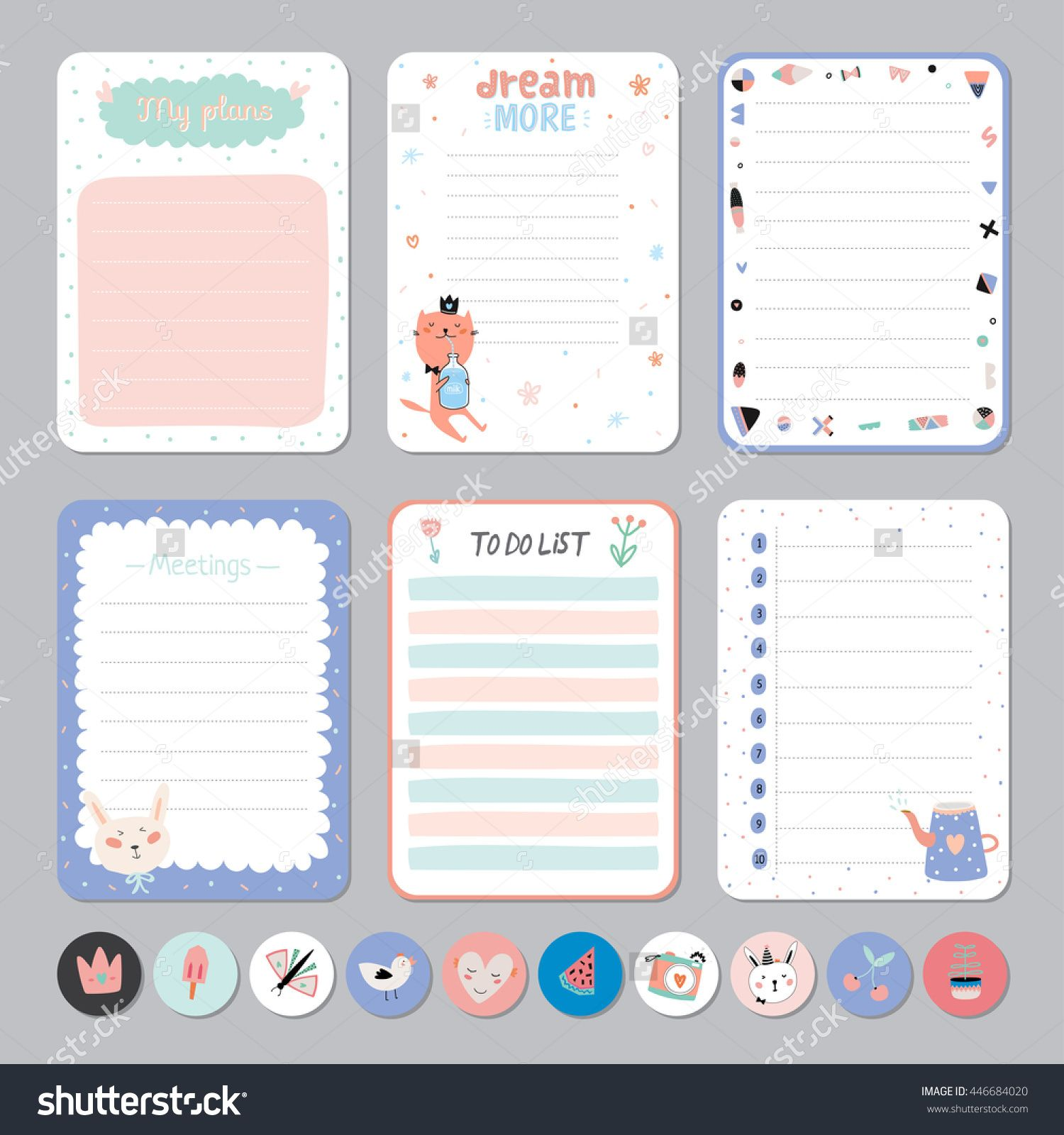 Cute calendar daily and weekly planner template note paper and cute calendar daily and weekly planner template note paper and stickers set with vector funny animals illustrations good for kids maxwellsz