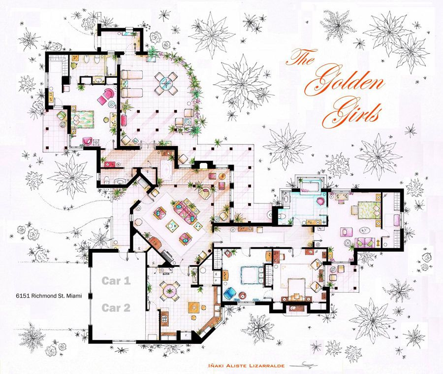 artist sketches the floor plans of popular tv homes | house layouts