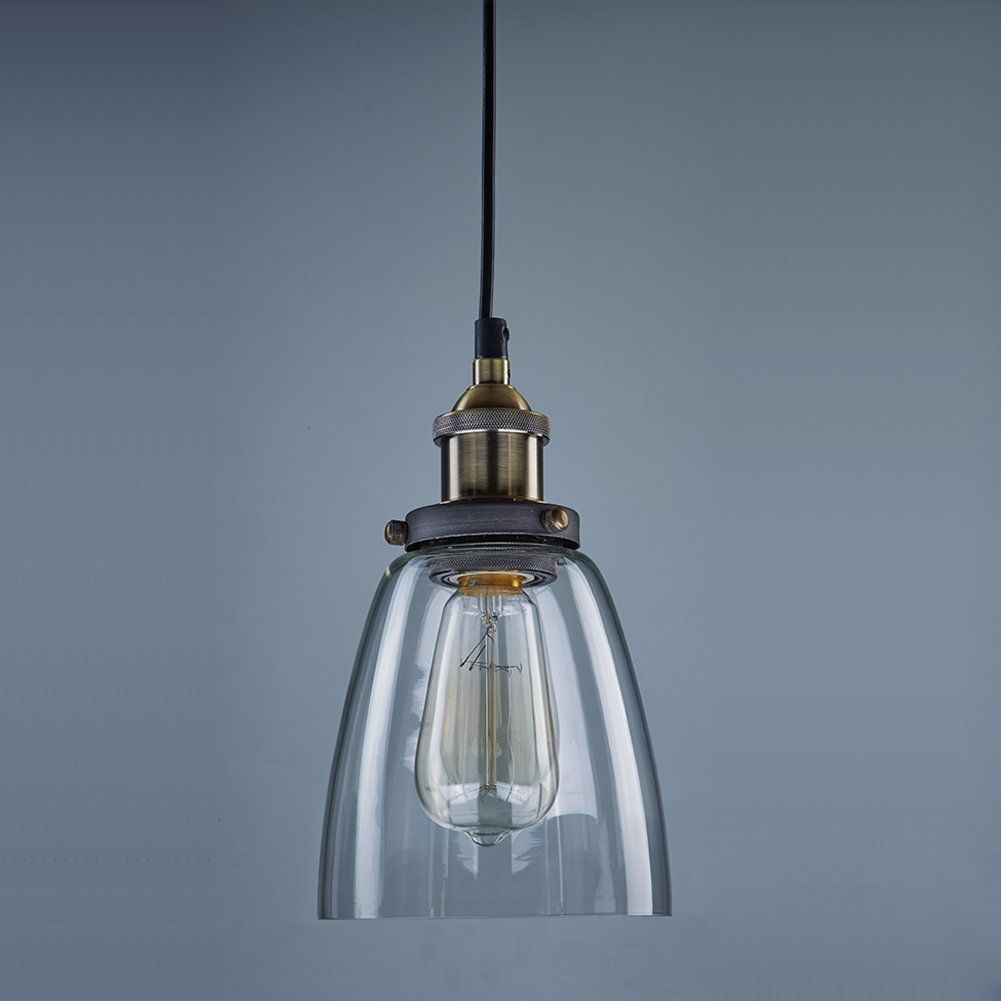 CLAXY® Ecopower Industrial Edison Mini Glass 1 Light Pendant Hanging Lamp  Fixture