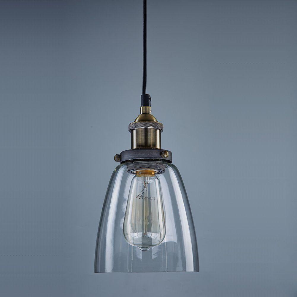 CLAXY® Ecopower Industrial Edison Mini Glass 1 Light Pendant Hanging Lamp  Fixture