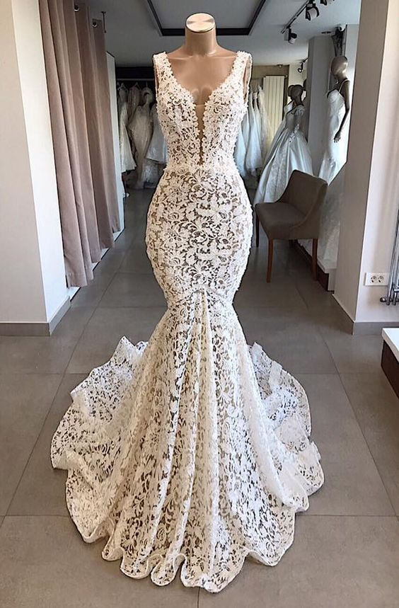 Photo of Mermaid Lace V Neck Long Prom Dresses Wedding Dresses Ivory Chic Bridal Gowns