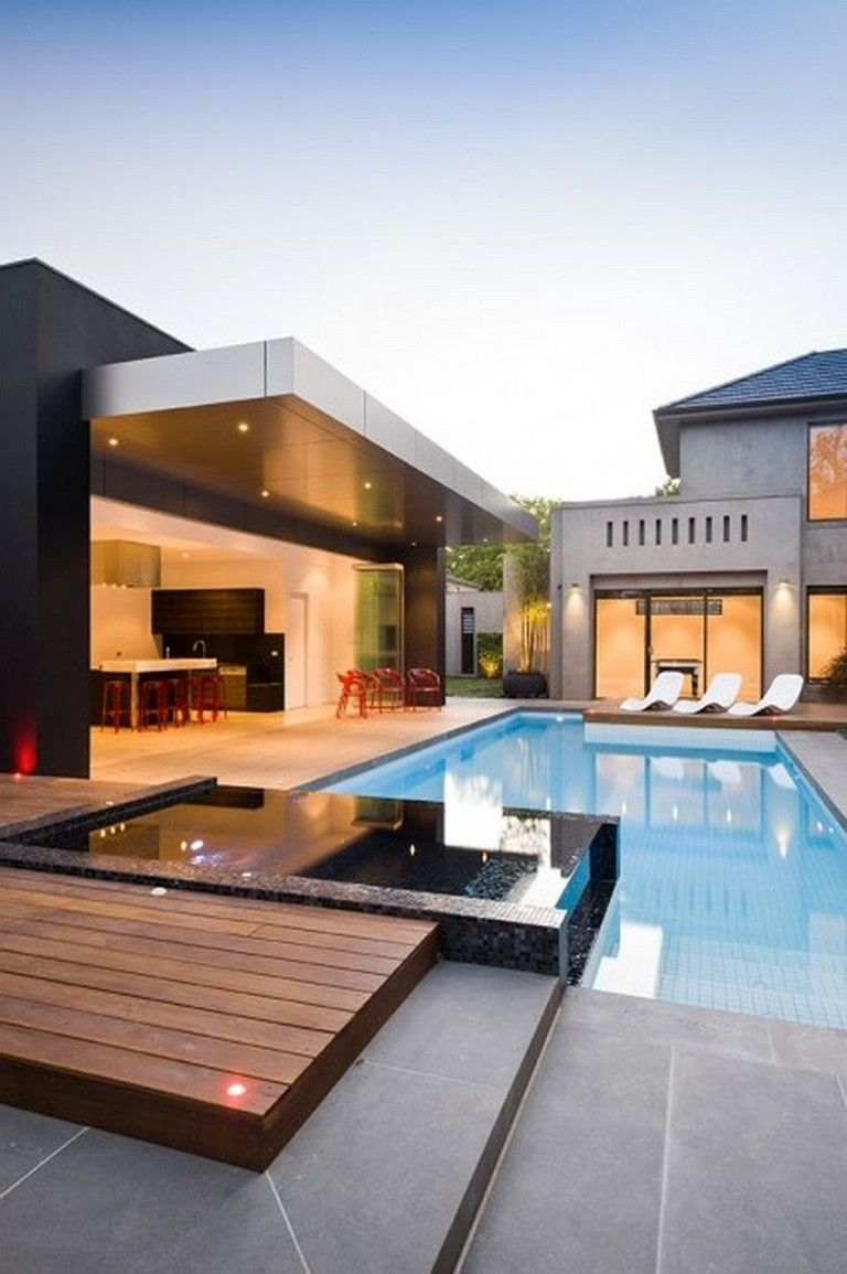 46 Amazing Elegant Luxury Swimmingpool Design Ideas Swimmingpooldesign Swimmingpools Sw Architecture House Dream House Exterior Modern Architecture House