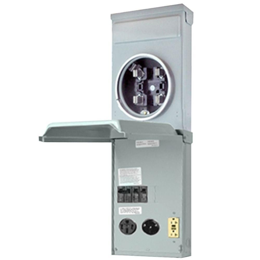Ge Metered Rv Panel With 50 Amp And 30 Amp Rv Receptacles And 20 Amp Gfci Receptacle Ge1lm532ss Conexion